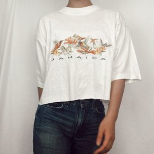 VTG White Cropped Jamaica Graphic Tee